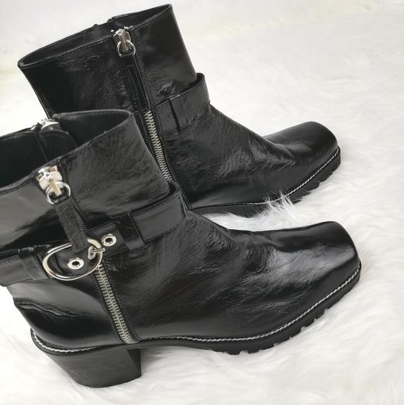 79ee9e23f57a ZARA BASIC Black Ankle Zip Buckle Boots 8   39. M 5bda8fa3819e90c272676c94